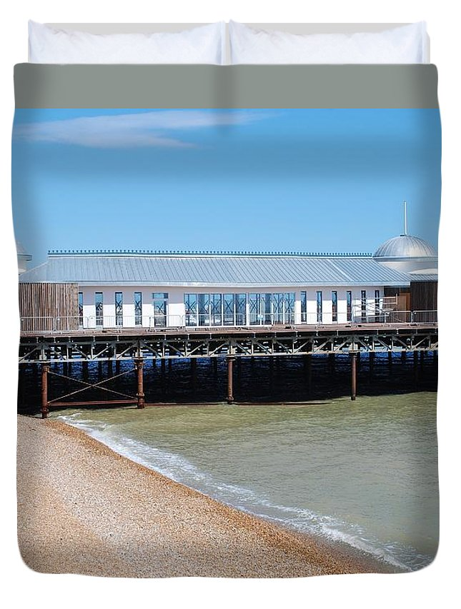 Hastings Duvet Cover featuring the photograph Hastings Pier Pavilion by David Fowler