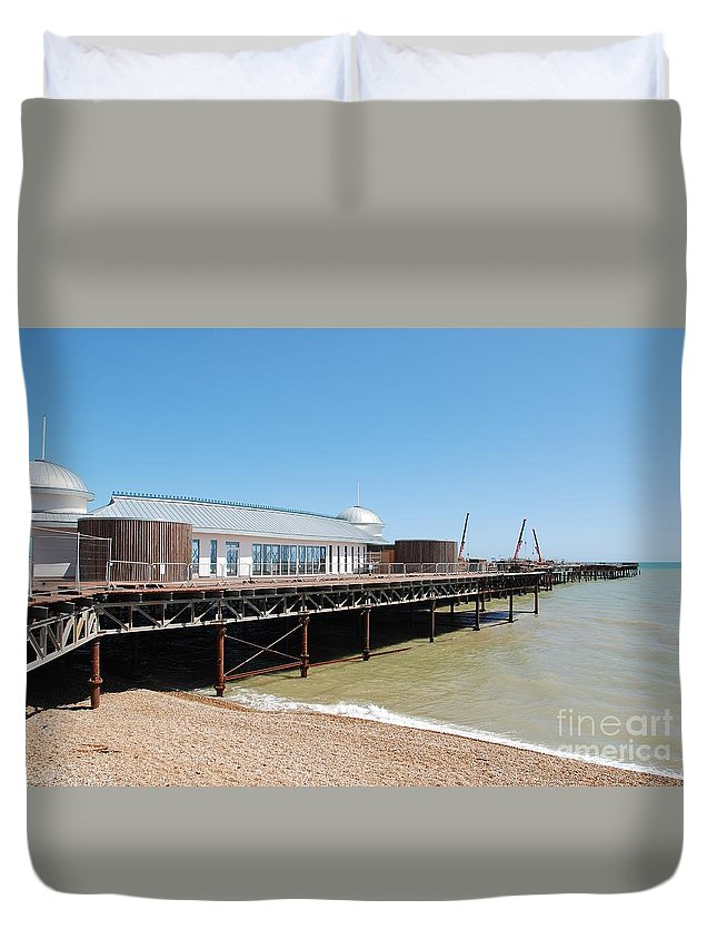 Hastings Duvet Cover featuring the photograph Hastings Pier Renovation by David Fowler