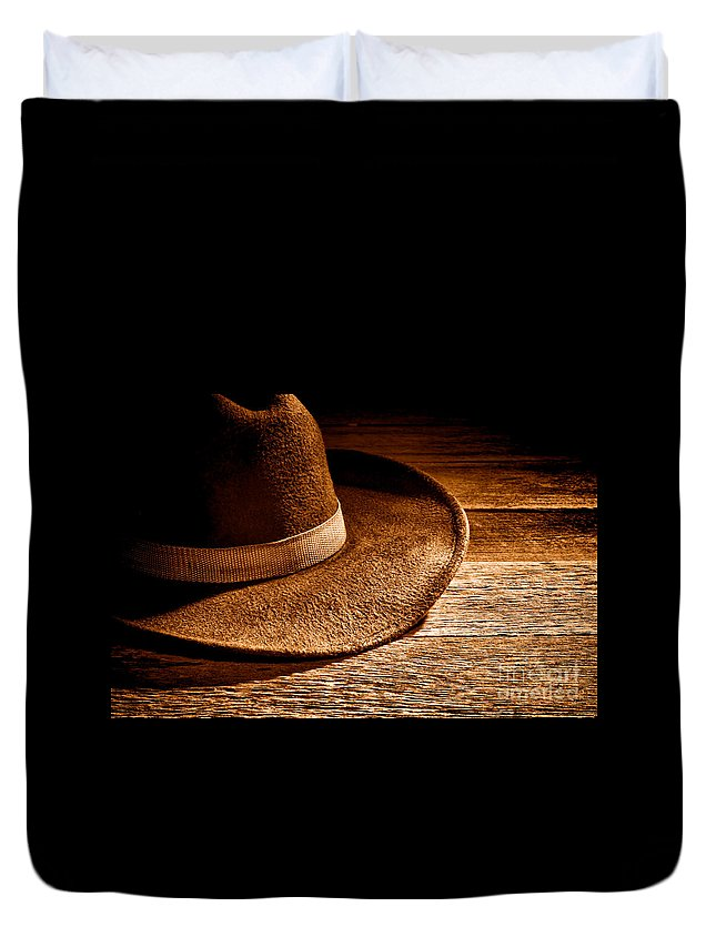 Cowboy Duvet Cover featuring the photograph Hat - Sepia by Olivier Le Queinec