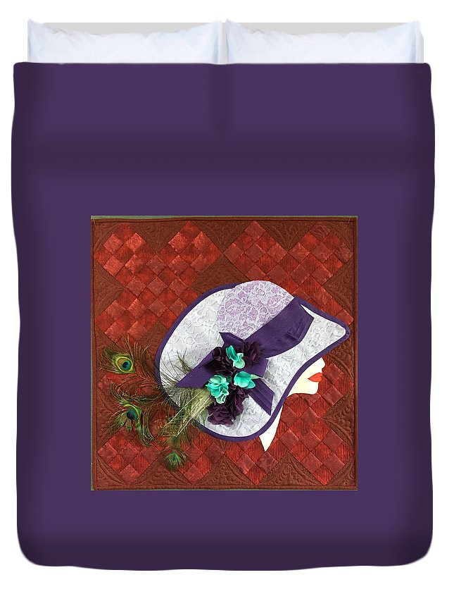 Traditional Quilt Duvet Cover featuring the tapestry - textile Hat Trick by Jo Baner