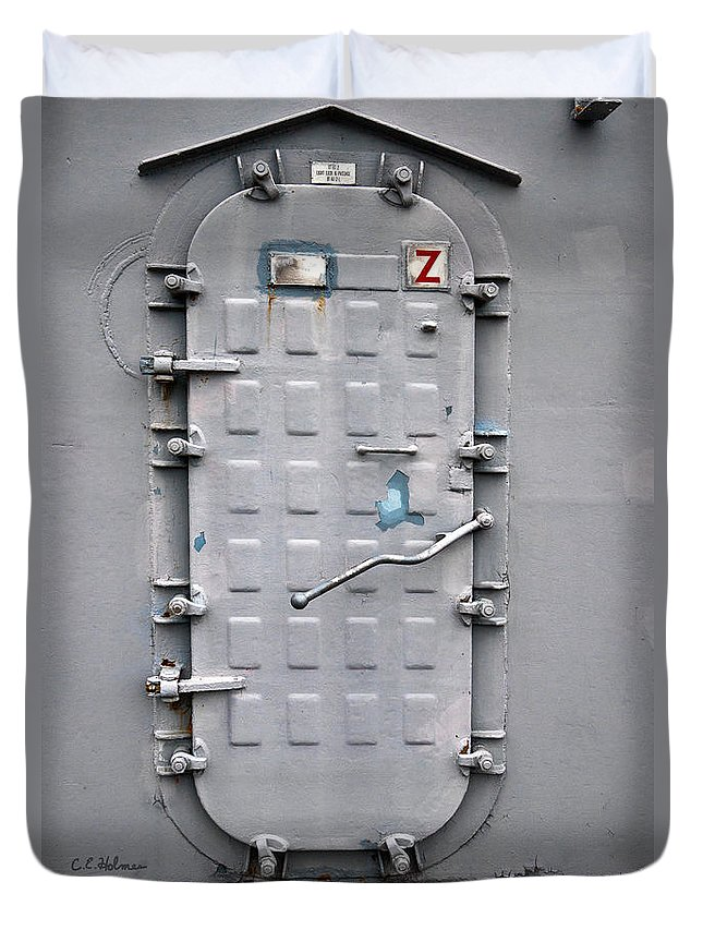 Ship Duvet Cover featuring the photograph Hatch Secured by Christopher Holmes