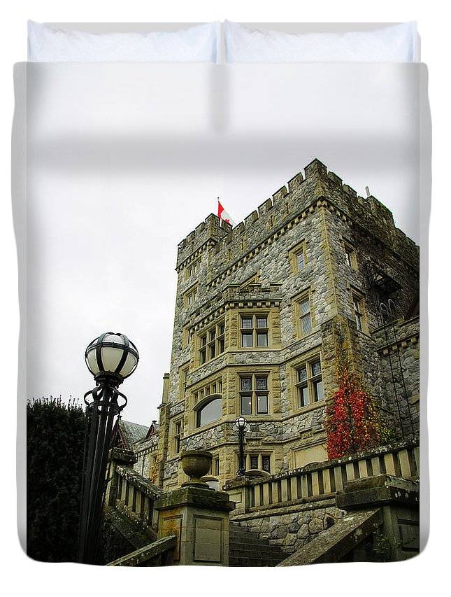 Hatley Duvet Cover featuring the photograph Hatley Castle by Perggals - Stacey Turner