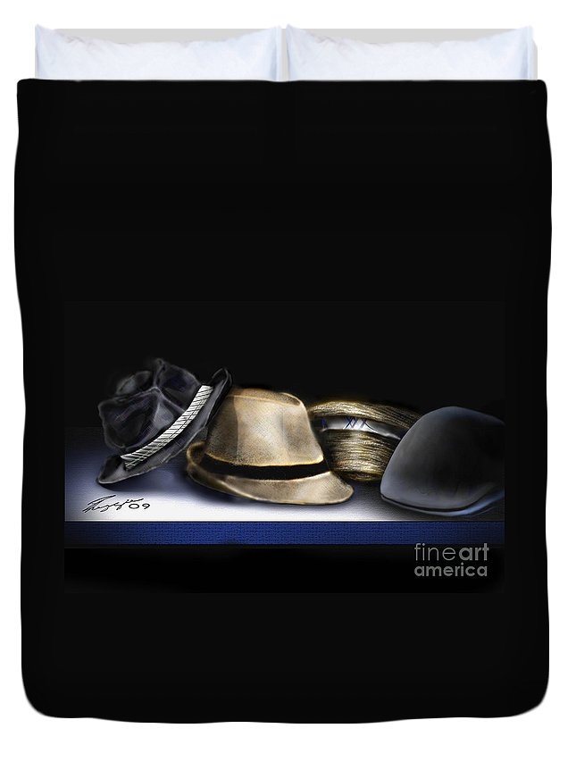 Still Life Painting Duvet Cover featuring the painting Hats by Reggie Duffie