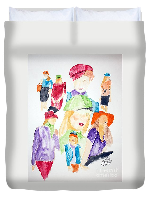 Hats Duvet Cover featuring the painting Hats by Shelley Jones