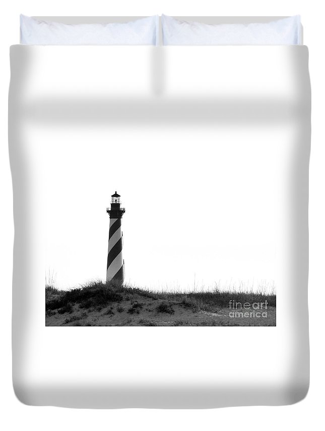 Hatteras Duvet Cover featuring the photograph Hatteras Light by Jean Wright