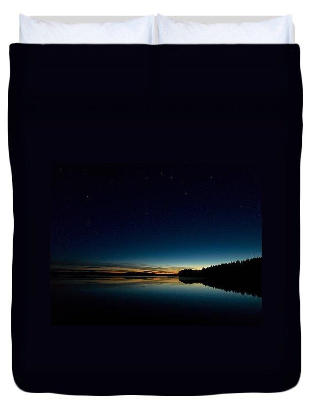 Haukkajarvi Duvet Cover featuring the photograph Haukkajarvi By Night With Ursa Major 1 by Jouko Lehto