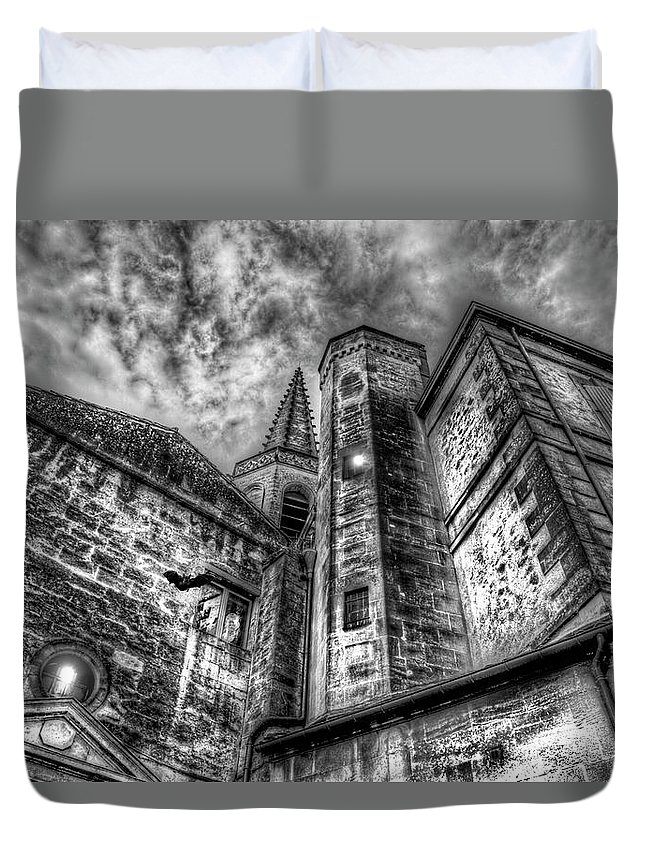 Church Duvet Cover featuring the photograph Haunted Church In Black And White by Kay Brewer