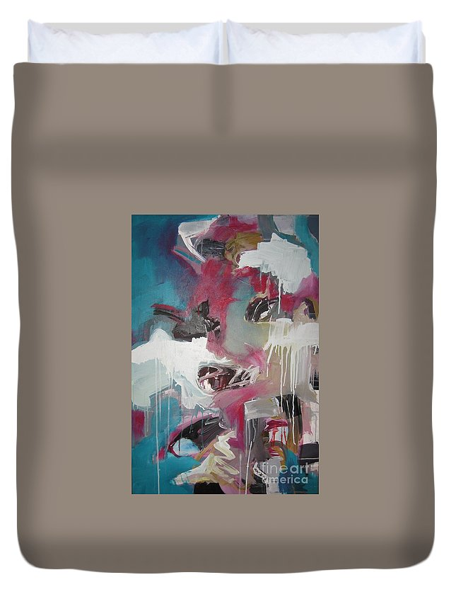 Abstract Red Blue Paintings Duvet Cover featuring the painting Haunted Voice-blue Red Painting by Seon-Jeong Kim