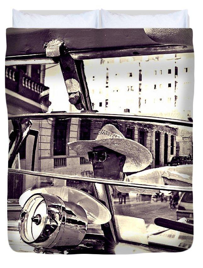 Havana Duvet Cover featuring the photograph Havana Cuba Taxi by Chris Andruskiewicz