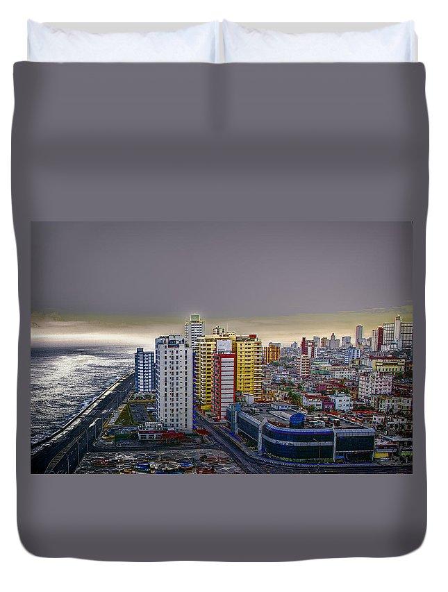 Cuba Duvet Cover featuring the photograph Havana Dawn by Claude LeTien