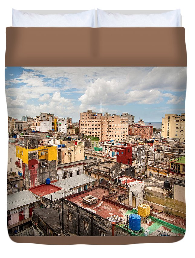 Cuba Duvet Cover featuring the photograph Havana From Above by Rob Loud