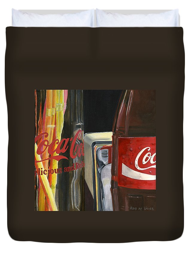 Coca Duvet Cover featuring the painting Have A Coke... by Rob De Vries