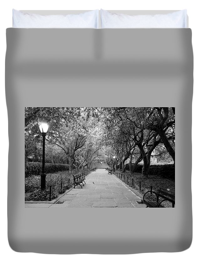 Central Park Duvet Cover featuring the photograph Have A Seat by Catie Canetti