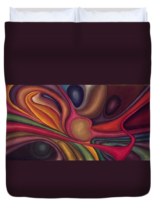 Abstract Oil Duvet Cover featuring the painting Have You Ever Watched A Dragonfly by Bernie Bishop
