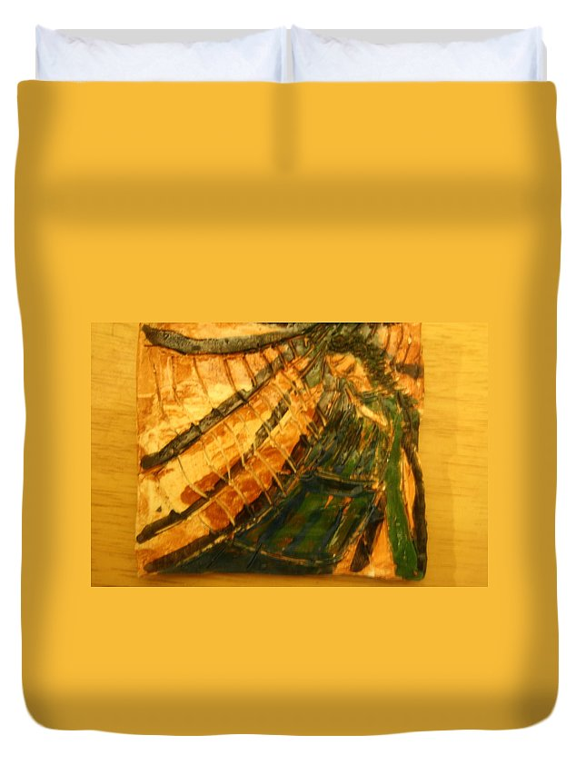 Jesus Duvet Cover featuring the ceramic art Haven - Tile by Gloria Ssali