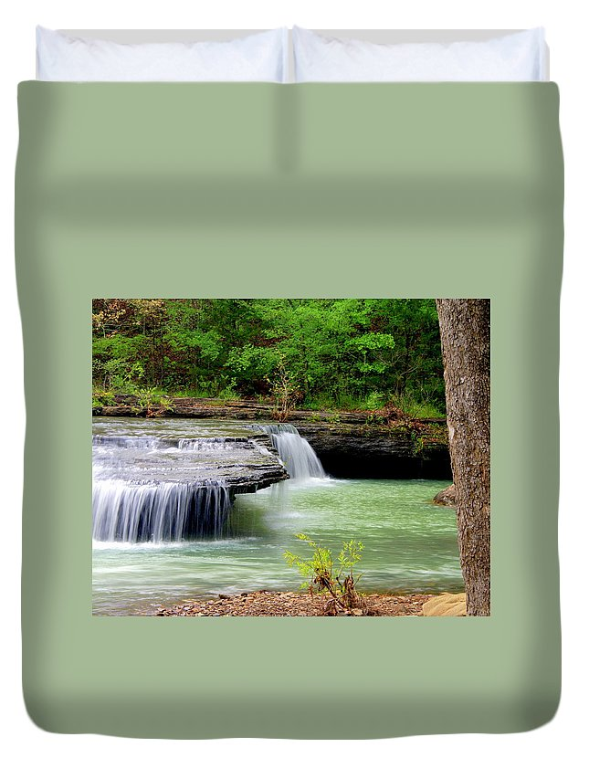 Waterfalls Duvet Cover featuring the photograph Haw Creek Falls by Marty Koch