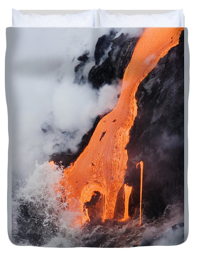 Active Duvet Cover featuring the photograph Hawaii Lava by Ron Dahlquist - Printscapes