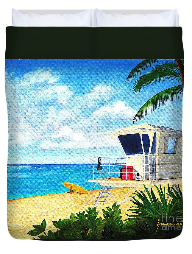 Hawaii Duvet Cover featuring the painting Hawaii North Shore Banzai Pipeline by Jerome Stumphauzer