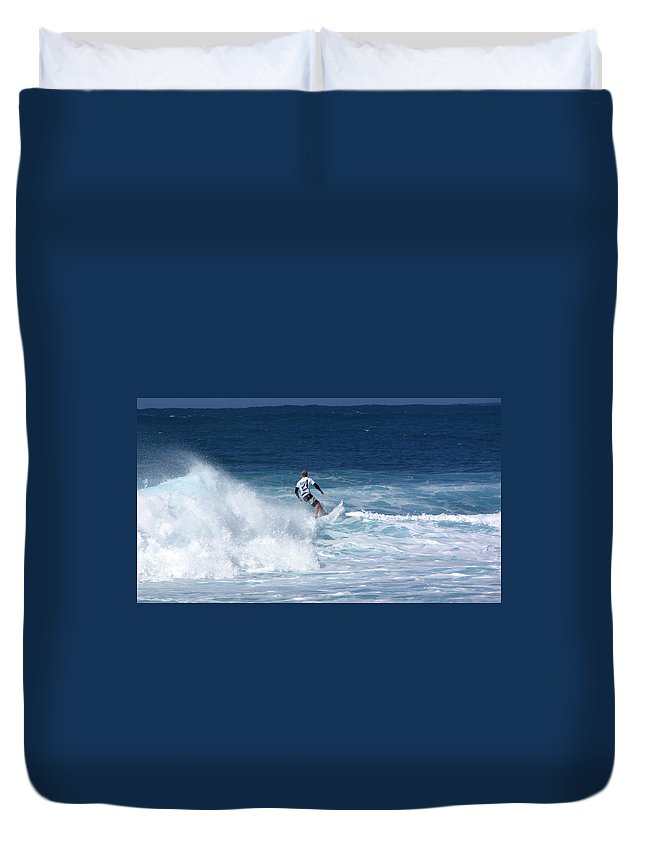 Surfer Duvet Cover featuring the photograph Hawaii Pipeline Surfer by Sarah Houser