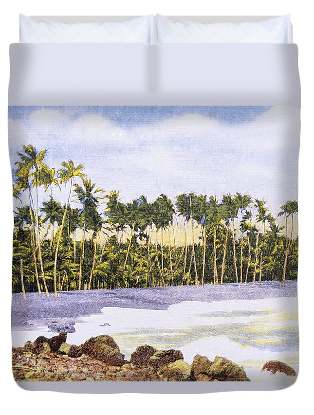 1930 Duvet Cover featuring the painting Hawaii Postcard by Hawaiian Legacy Archive - Printscapes