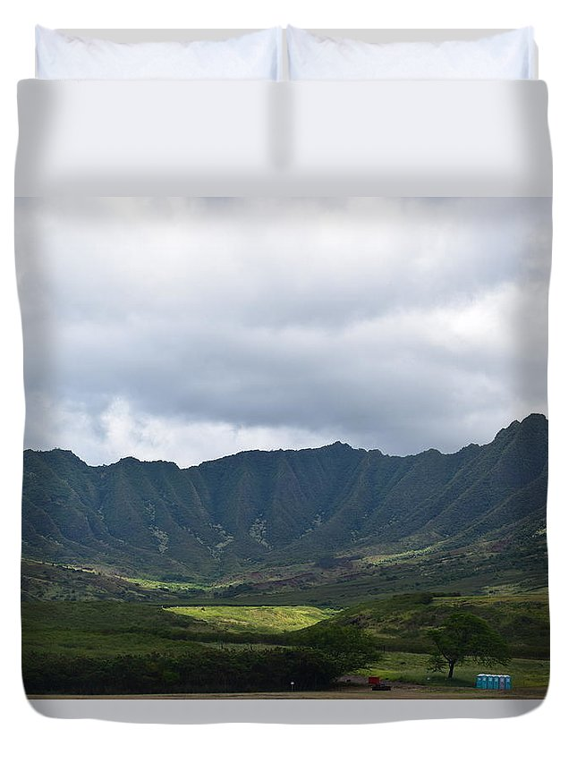 Hawaii Duvet Cover featuring the photograph Hawaii Valleys by Samantha Peel