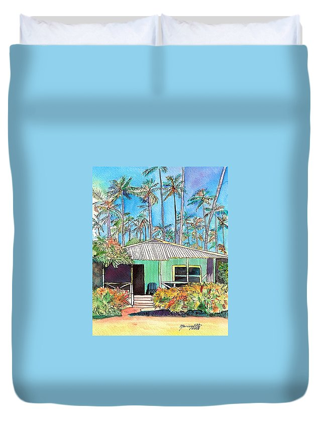 Cottage Duvet Cover featuring the painting Hawaiian Cottage I by Marionette Taboniar