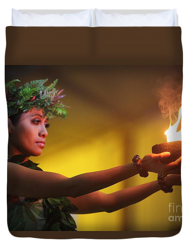 Fire Duvet Cover featuring the photograph Hawaiian Dancer And Firepots by Nadine Rippelmeyer