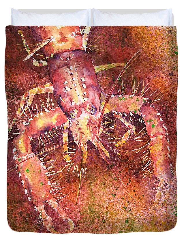 Animal Art Duvet Cover featuring the painting Hawaiian Lobster by Tanya L Haynes - Printscapes