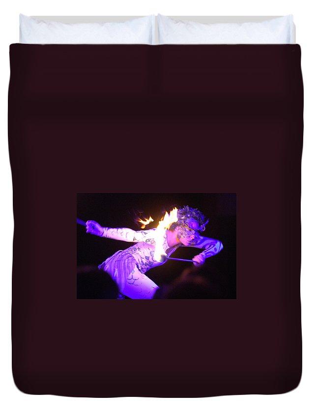Hawaii Duvet Cover featuring the photograph Hawaiian Luau Fire Eater 2 by Jill Reger