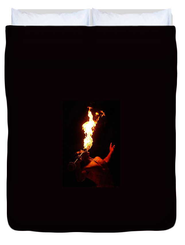 Hawaii Duvet Cover featuring the photograph Hawaiian Luau Fire Eater by Jill Reger