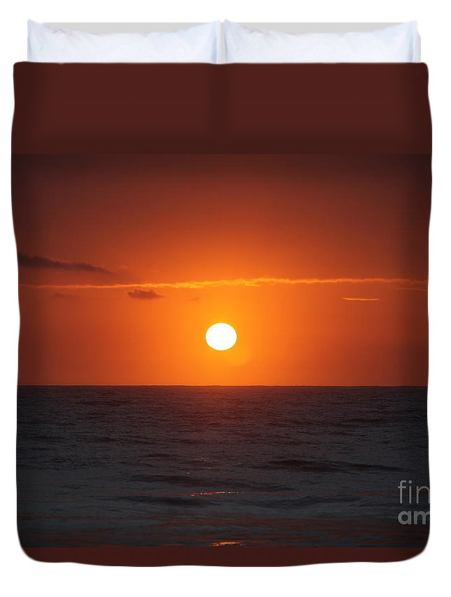 Sunrise Duvet Cover featuring the photograph Hawaiian Sunrise by Nadine Rippelmeyer