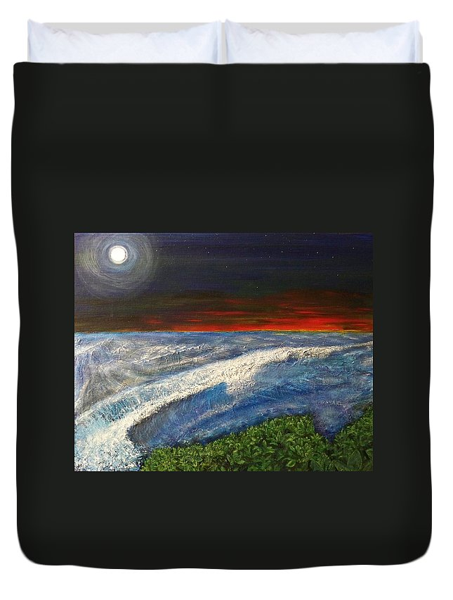 Beaches Duvet Cover featuring the painting Hawiian View by Michael Cuozzo