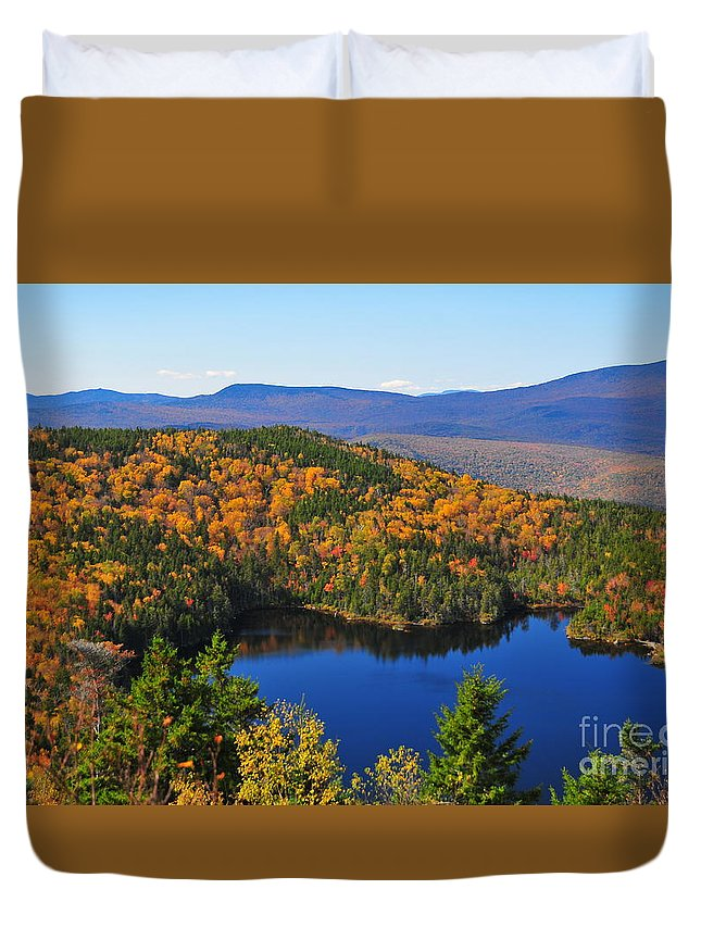 Hawk Eye View Mountain Lake Loon Nh New Hampshire Image Photo Photographer Photograph Picture Foliage Fall Autumn Top Colors Orange Yellow Red Blue New England New England Summit White National Forest Region Lincoln State United Loon Pond America Duvet Cover featuring the photograph Hawk Eye View by Catherine Reusch Daley