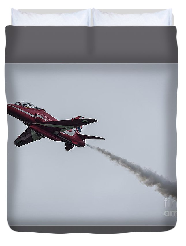 Red Duvet Cover featuring the photograph Hawk Jet by Philip Pound