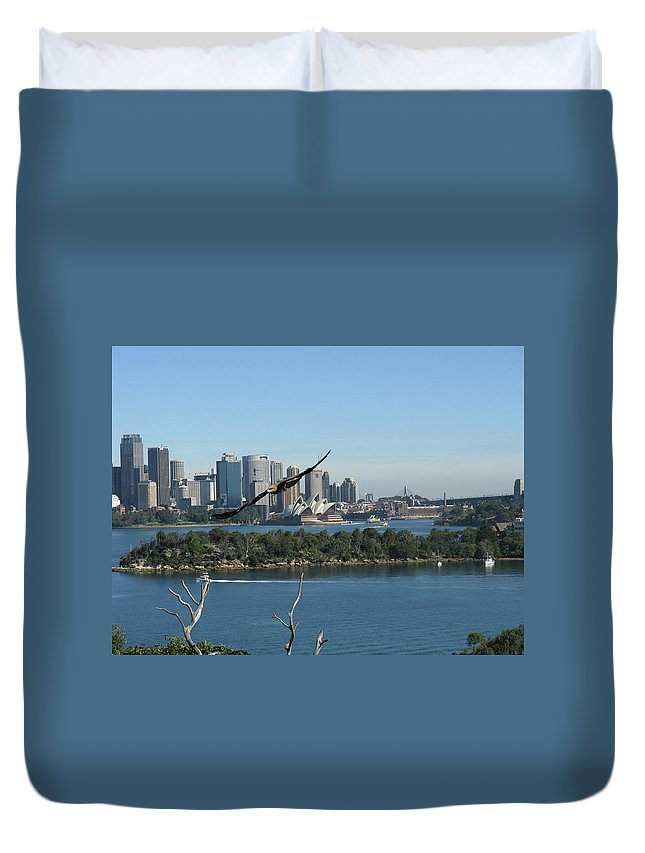 Sydney Harbour Duvet Cover featuring the photograph Hawk Over Sydney Harbour by Suzanne Vreeland