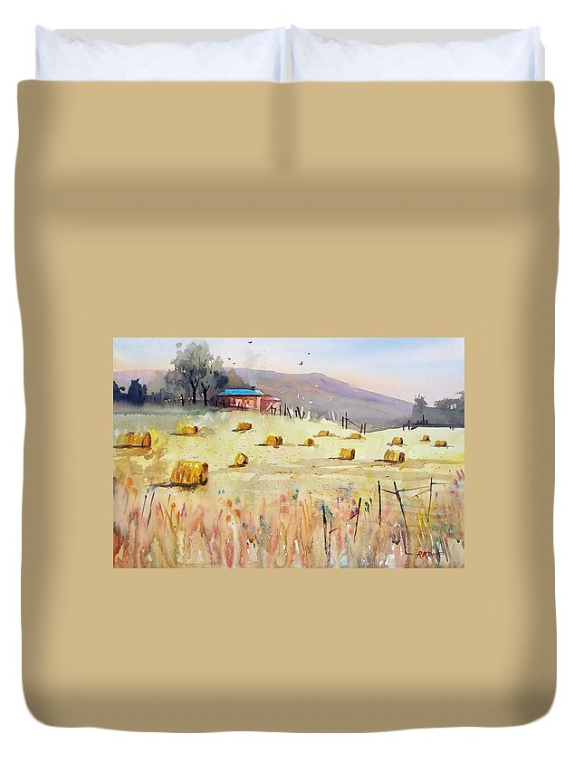 Watercolor Duvet Cover featuring the painting Hay Bales by Ryan Radke