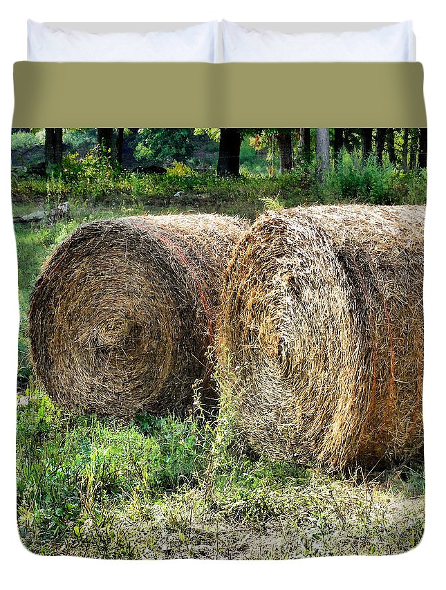 Hay Bay Rolls Duvet Cover featuring the painting Hay Bay Rolls 3 by Jeelan Clark