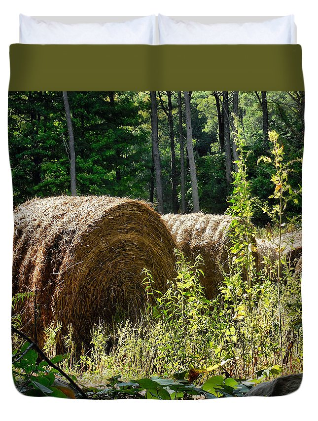 Hay Bay Rolls Duvet Cover featuring the painting Hay Bay Rolls by Jeelan Clark