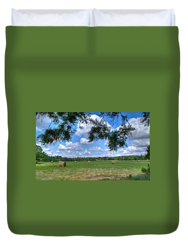 Hay Duvet Cover featuring the photograph Hay Field In Summertime by Douglas Barnett