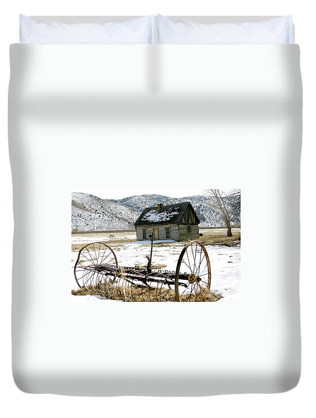 Utah Duvet Cover featuring the photograph Hay Rake At Butch Cassidy by Nelson Strong