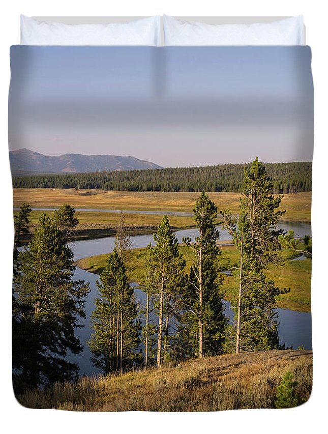 Wyoming Duvet Cover featuring the photograph Hayden Valley by Tracy Knauer