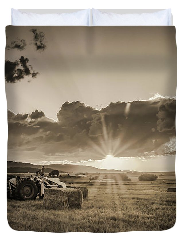 Tractor Duvet Cover featuring the photograph Haying Time by Don Schwartz