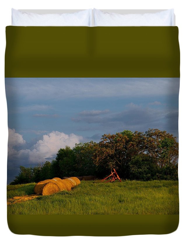 Hay Duvet Cover featuring the photograph Haymaker Clouds by Laura Ragland