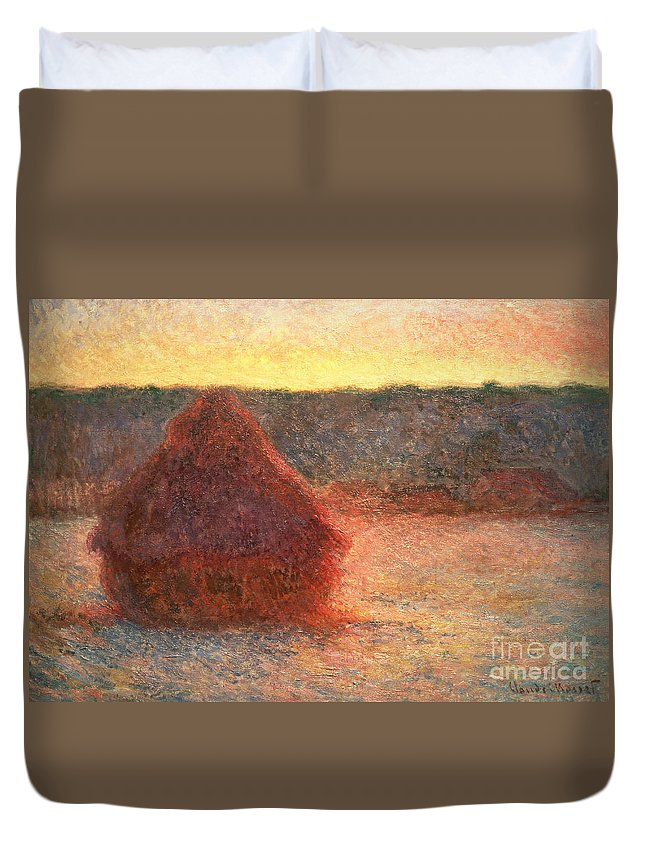 Haystacks At Sunset Duvet Cover featuring the painting Haystacks At Sunset by Claude Monet