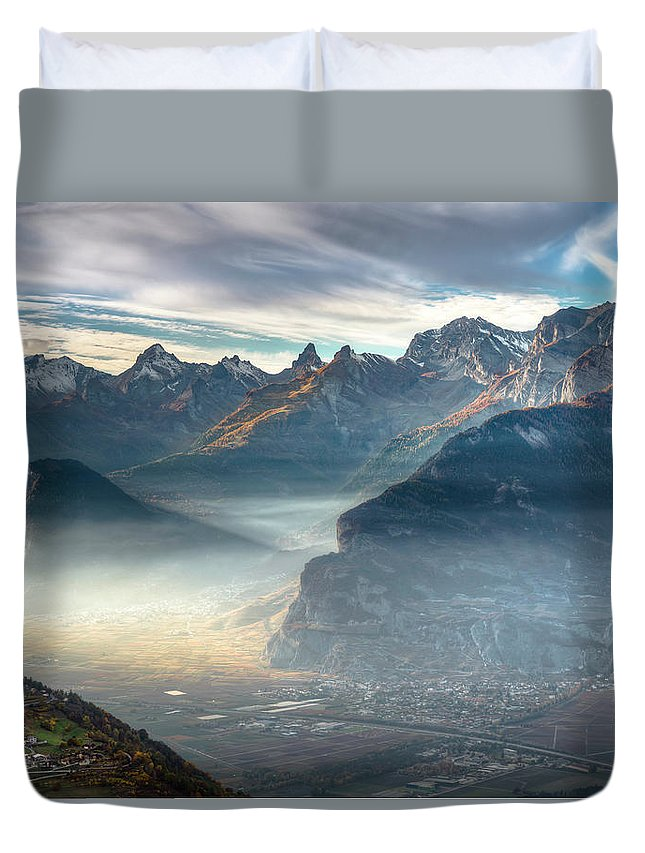 Mountains Duvet Cover featuring the photograph Hazy Veysonnaz by Roger Armfelt