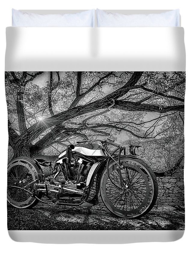 Bw # Motorcycle 3 Blackandwhite # Motorbike # Chrome # Cafe Racer # Caferacer # Cafe Racers# Bobbers # Street Trackers# Cafe Racers # Bobbers# Street Trackers# Custom Motorcycle #old School # Classic Motorcycle # Old School Duvet Cover featuring the photograph Hd Cafe Racer by Louis Ferreira