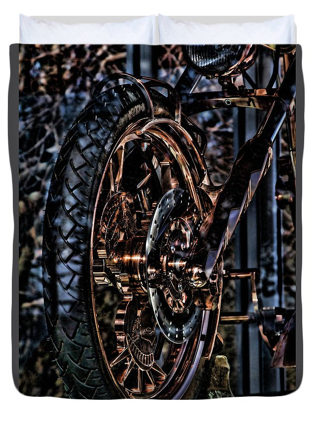 Liberty Bike Duvet Cover featuring the photograph Hdr Liberty Bike Copper Ny by Chuck Kuhn