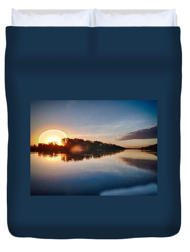 Hdr Duvet Cover featuring the photograph Hdr River Fun by Dustin Soph