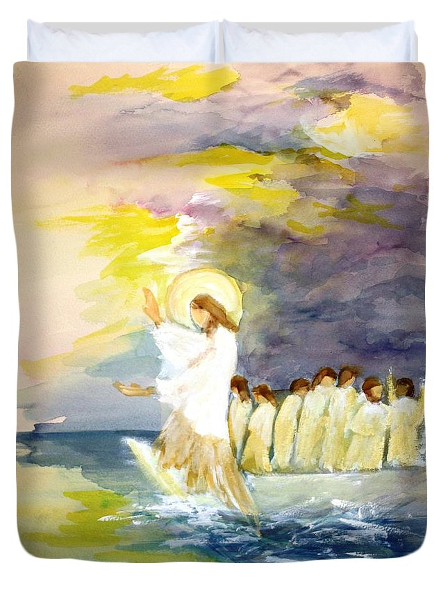 Jesus Duvet Cover featuring the painting He Calms The Waters by Mary Spyridon Thompson
