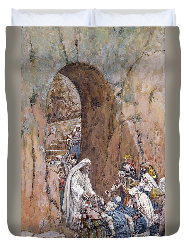 Did Duvet Cover featuring the painting He Did No Miracles Save That He Healed Them by Tissot